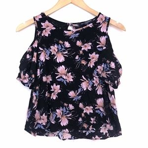 ONE CLOTHING Black Pink Floral Cold Shoulder Top